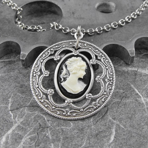 Victorian Cameo Silver Necklace - Portrait of the Poised French Maiden by COGnitive Creations