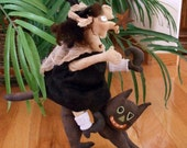 Primitive E- Pattern  Halloween witch and Riding A Cat
