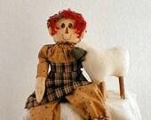 Primitive  E- Pattern   Raggedy Rachel and Sheep Doll Decoration
