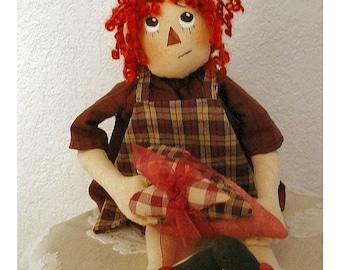 Primitive Raggedy Doll Sewing Pattern  E Pattern  PDF  Instant Download