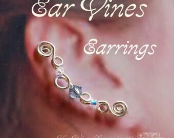 Ear Vines, Ear Pins, Ear Sweeps, Beginner Wire Jewelry Tutorial, Earrings for Pierced Ears - Instant Download PDF File
