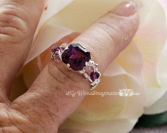 Amethyst Genuine Swarovski Crystal Hand Crafted Wire Wrapped Ring Original Signature Design Fine Jewelry February Birthstone Made to Order