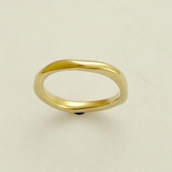 Wedding band, yellow gold band, simple band, unisex band, matching wedding band, simple band, organic gold band, gold ring - Ensemble.
