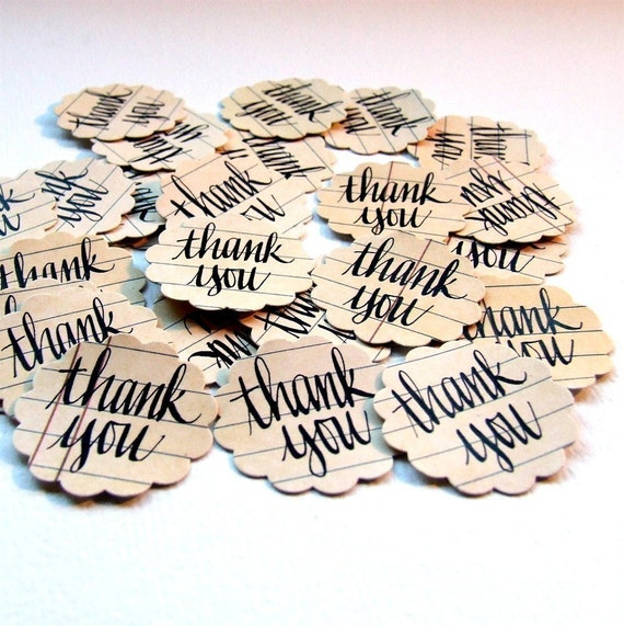 Wedding Thank You Stickers, Set of Hand Lettered Thank You Stickers, Seal your Thank You Notes and Cards with Calligraphy (pack of 20)