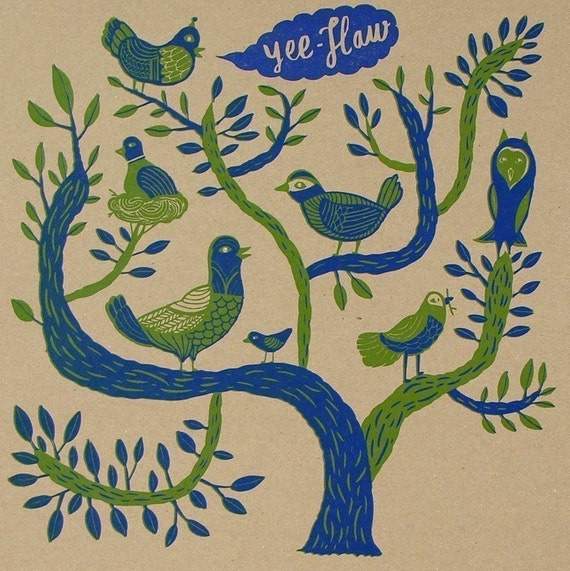 BIRDS in a TREE Hand Printed Letterpress Poster
