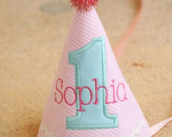Girl First Birthday Hat  - Pink and aqua - Winter Wonderland - Free personalization