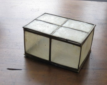 Vintage Translucent Capiz Shell and Brass Box