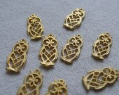 10 Exotic Owl Charms, Gold Plated
