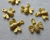 6 Busy Bee Charms, Gold Plated