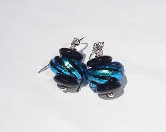 Dichroic Glass Bead Pierced Dangle Earrings blue and black dichroic glass hand made pierced dangle earrings by Ziporgiabella