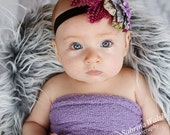 Baby Headband / Newborn Headband  Infant Headband HARLOW-  Dramatic Velvet Flowers n Hot Pink Feather Headband / All sizes