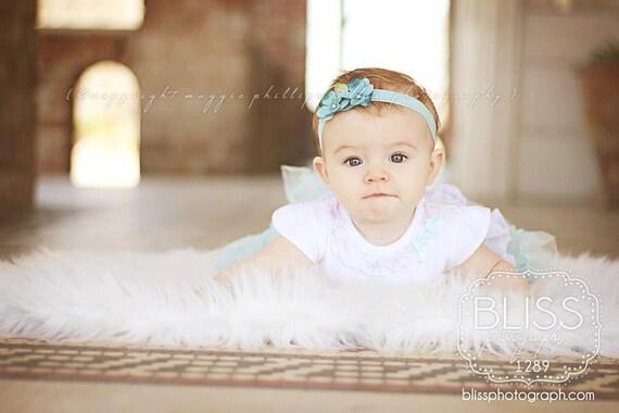 Newborn Baby Girl Headband or HairClip - Alligator or Snap Clip Barrettes HARPER Turquoise Blue Flower Bow Headband No Slip For Fine Hair