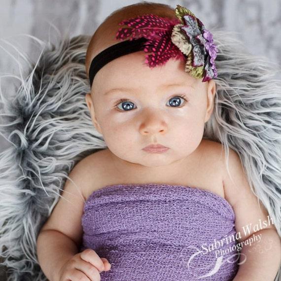 Baby Headband / Newborn Headband  Infant Headband HARLOW-  Dramatic Velvet Flowers n Hot Pink Feather Headband / All sizes
