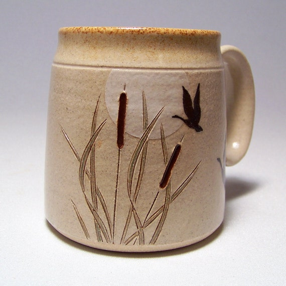 Goose and Cattails Pottery Coffee  Mug Limited Series 56 (microwave safe) 12 oz
