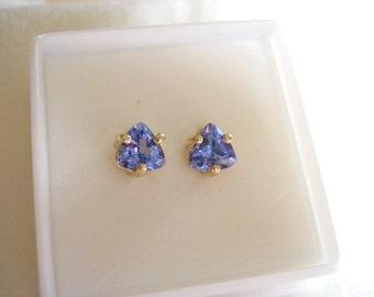 5.5mm X 5.5m trillion cut 1.50 tcw AA natural Tanzanite 10k gold post earrings