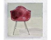 Chair Art - Eames Pink Shell Chair - Canvas Print on 5x5 Art  Block - Designer Chair Portrait - Chair Print - Wall Decor