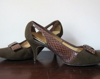 Vintage Shoes 50s 60s Brown Shoes High Heels Snakeskin + Suede Shoes Size 7 N