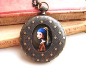 Classic Painting Pendant, pocketwatch art locket, girl with pearl earring pendant, girl pendant, romantic gift, pretty girl, my oh my N04