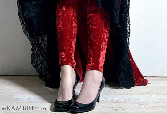 Red Crushed Velvet Leggings by Kambriel - Brand New & Ready to Ship!