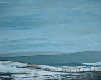 "Art Original Large Landscape Oil Painting Impressionist Minimalist Winter Snow Sky Fournier Appalachian Quebec Canada ""A Field In March """