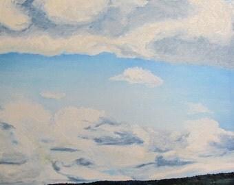 "Art Original Large Impressionist Landscape Oil painting Appalachian Blue Sky Cloud Quebec Canada By Fournier "" The Wheat Field "" 30 x 24"