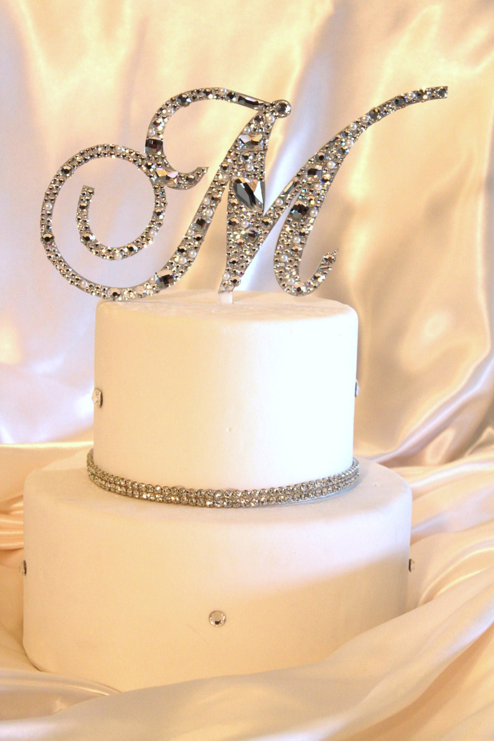 m s wedding cake toppers free shipping 36 swarovski mosaic style monogram by 17647