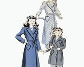 40s Girls robe pattern Hollywood 1417 Vintage sewing pattern for girls robe with heart shaped pockets