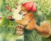 """whimsical animal art, Children's room, decor, kids, nursery- """"Greta, picking apples""""- Fox art, fox watercolor"""