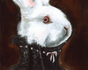 dark, goth, halloween decor- Hattie Albino- White Rabbit Art
