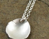 Hand Forged Sterling Silver Disc Necklace from Recycled Eco Friendly Reclaimed Silver Metal Modern Brushed Satin Finish