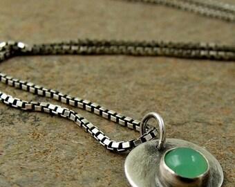 Mint Green Chrysoprase Necklace Oxidized Sterling Silver Necklace Green Stone Silver Disc Necklace Gemstone Pendant