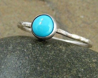 Blue Sleeping Beauty Turquoise Stacking Ring Hammered Silver Turquoise Ring Sterling Silver Ring Turquoise Stackable Ring 6mm Organikx