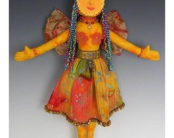 Sunshine Angel Art Doll Orange and Gold Hippie