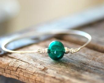 Silver Bangle Bracelet, Sterling Silver Bangle, Beach Wedding, Modern Minimalist Jewelry, Made in Canada, Dark Teal Hollow Glass - Deep Sea