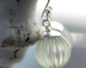 Lucite Earrings, Very Pale Green Earrings, Bridesmaid Earrings, Pastel Wedding, Sterling Silver - Sea Spray