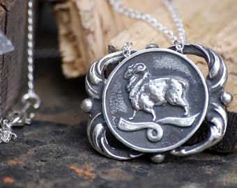Aries Medallion Necklace - Astrological Zodiac Sign Pendant - Sterling Silver or Brass