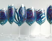 Peacock Wedding Glassware - 6 Piece Personalized Toasting Collection -- Hand Painted Wine Glasses and Champagne Flutes