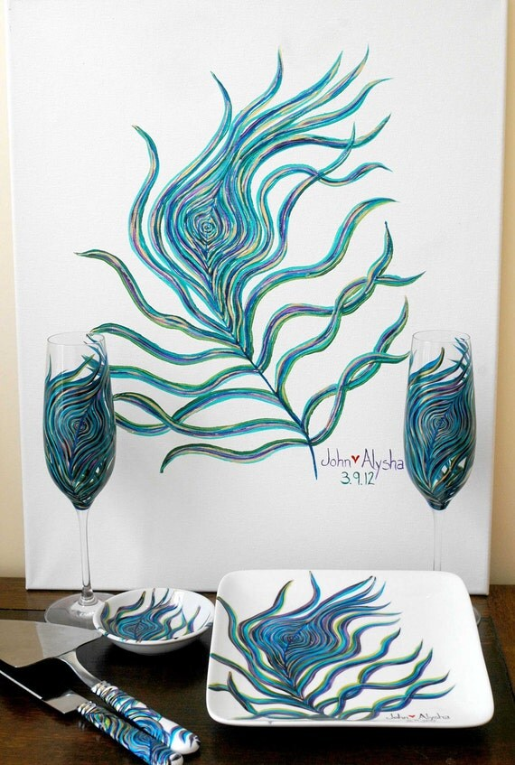 Personalized Peacock Wedding 7 Piece Collection - Toasting Flutes, Ring Dish, Cake Plate, Cake Cutters and Guest Signature Painting