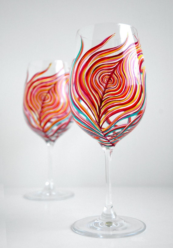 Hand Painted Peacock Wine Glasses - Neon Peacock Feather Wine Glasses - Bright Neon Painted Wine Glasses