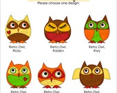 Set of 25 RETRO OWL Personalized Cardstock Tags, 6 Designs To Choose From, Gift Tags, Hang Tags, Favor Tags