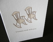 Letterpress Greeting Card, I Wanna Rock With You