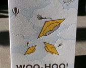 Graduation Card, Letterpress, Woo-hoo, Caps Flying