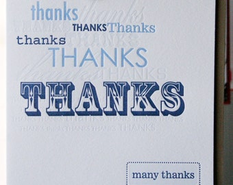 Letterpress Thank You Card, Many Thanks