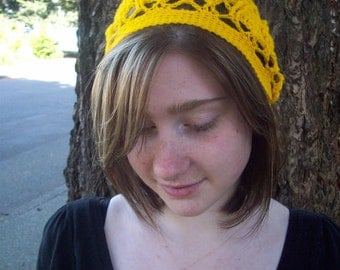 Bright yellow trilobite tam crochet lace beret in acrylic
