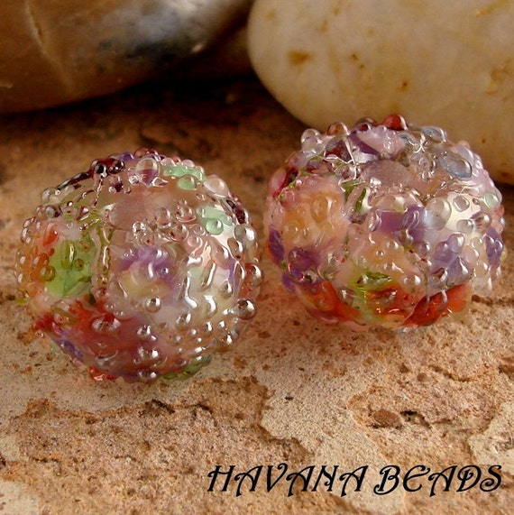 Sale Entire Store - BUTCHART GARDENS Silver Sparkle Earring Pair - Set of 2 Handmade Lampwork Beads