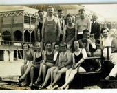 Vintage Real Photo Postcard 1920s Card, Bathers at Saltair Beach, Utah, Swimming Summer Vacation Travel Black and White Photography Mormons