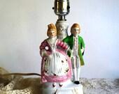 Vintage Figural Lamp, Boudoir Lighting Glazed Bisque Porcelain Statue Colonial Couple, Pink Cottage Chic Decor Mid Century Japan Green