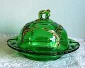 Antique Butter Dish Heisey Winged Scroll Emerald Green Round Covered Glass Dish