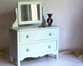 Vintage Toy Doll Dresser Cottage Chic Miniature Blue Jewelry Box Chest Furniture Organizer Organization