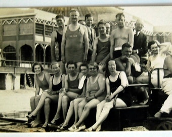 Real Photo Postcard, 1920s Saltair Beach Card, Vintage Ephemera, Utah History, Swimming Summer Vacation, Black and White Photography